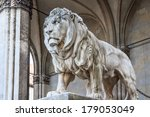 A Stone Lion Sculpture At The...