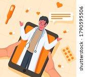 human talking to doctor in...   Shutterstock .eps vector #1790595506