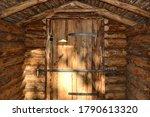 Wooden Door To A New Pine Log...