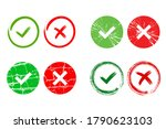 tick and cross signs. green... | Shutterstock . vector #1790623103