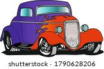 vintage car with fire design | Shutterstock . vector #1790628206