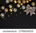 golden christmas flat lay... | Shutterstock . vector #1790656010