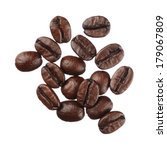 coffee beans isolated on white... | Shutterstock . vector #179067809
