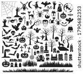 set of halloween silhouettes... | Shutterstock .eps vector #1790682353