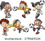 cartoon kids playing soccer.... | Shutterstock .eps vector #179069234