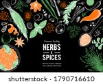herbs and spices hand drawn... | Shutterstock .eps vector #1790716610