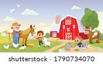 kid feed the animals at the... | Shutterstock .eps vector #1790734070