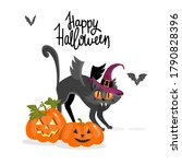 halloween greeting card. happy... | Shutterstock .eps vector #1790828396