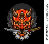 Demon Oni Mask Katana  Vector...