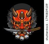 Demon Oni Mask Katana  Vector...