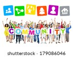 multi ethnic group of people... | Shutterstock . vector #179086046