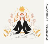 meditating woman sitting in... | Shutterstock .eps vector #1790890949