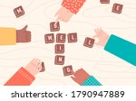 group of people playing board... | Shutterstock .eps vector #1790947889