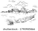 green grass field on small... | Shutterstock .eps vector #1790985866