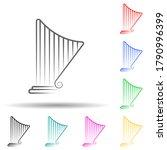 harp multi color set icon....