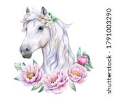 White Horse  Unicorn With A...