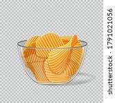 potato chips in glass... | Shutterstock .eps vector #1791021056