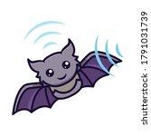 cute little baby bat mascot... | Shutterstock .eps vector #1791031739