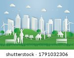 green eco city with happy... | Shutterstock .eps vector #1791032306