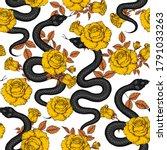 snake and gold roses seamless... | Shutterstock .eps vector #1791033263