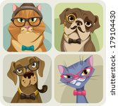 set of four portraits of dogs... | Shutterstock .eps vector #179104430