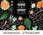 herbs and spices hand drawn... | Shutterstock .eps vector #1791061289