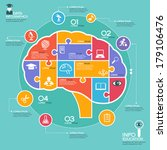 Stock vector puzzle in the form of abstract human brain surrounded infographic education education concept with 179106476