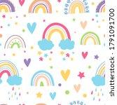 cute rainbows  clouds  stars ... | Shutterstock .eps vector #1791091700