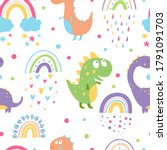 seamless pattern with cute...   Shutterstock .eps vector #1791091703