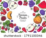 berries and fruits drawing... | Shutterstock .eps vector #1791100346