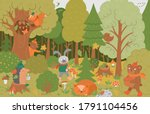 Vector Autumn Forest Background ...