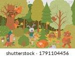 Vector Autumn Forest Background ...