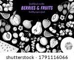 berries and fruits sketch... | Shutterstock .eps vector #1791116066