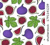 seamless pattern with fig. hand ... | Shutterstock .eps vector #1791141239