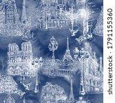 paris   watercolor seamless... | Shutterstock .eps vector #1791155360