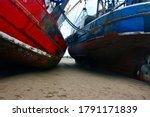 Docked Fishing Boats In Low...