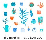 large set with watercolor... | Shutterstock . vector #1791246290