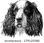 portrait of sad dog | Shutterstock .eps vector #179125580