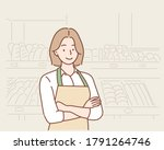 business owner with bakery shop ... | Shutterstock .eps vector #1791264746