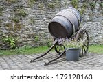 Old Wine Barrel With Wheels An...