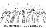hand drawn of hands up ... | Shutterstock .eps vector #1791286310