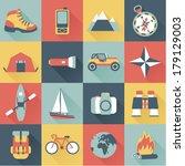 set of flat adventure traveling ... | Shutterstock .eps vector #179129003