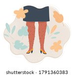 Cartoon vector illustration of woman with hairy legs. Bodyposetive concept.