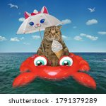 The Beige Big Eyed Cat Eats A...