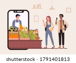 buy food in online farm market... | Shutterstock .eps vector #1791401813
