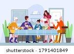 family dinner  traditional meal ... | Shutterstock . vector #1791401849