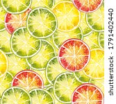 watercolor pattern of lime ... | Shutterstock . vector #1791402440