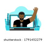 vector flat concept with laptop ... | Shutterstock .eps vector #1791452279