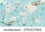 old geography travel map with... | Shutterstock .eps vector #1791527003