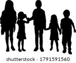 silhouette of children on white ... | Shutterstock . vector #1791591560